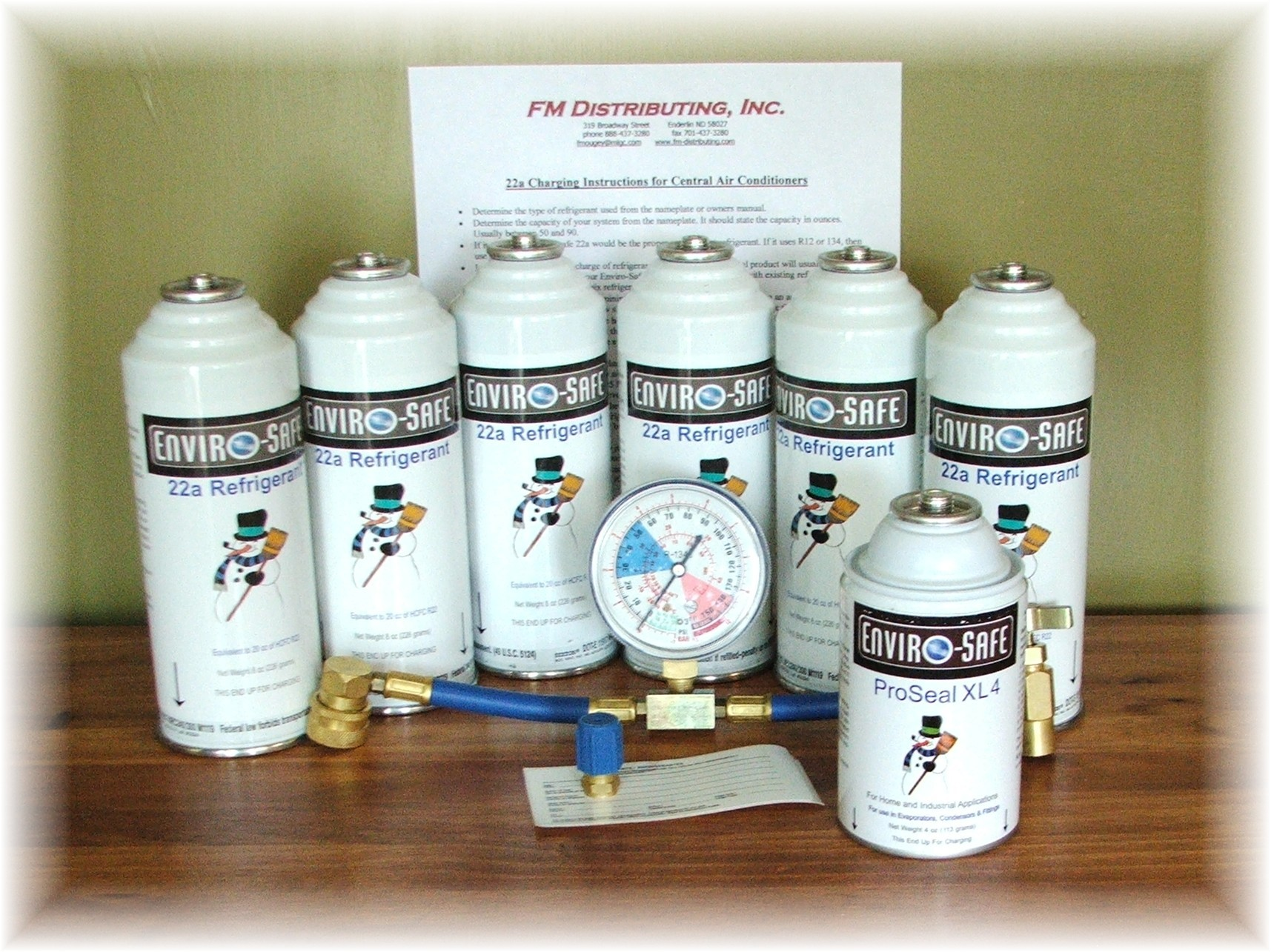R290 Large Charge & Seal Kit (Includes 6 cans of R290, 1 ProSeal XL, 1 Low Side Gauge W/Hose & Can Tap, & 1 Low Side Adapter)